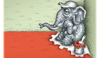 Illustration on the GOP and its internal struggles with conservatives by Kevin Kreneck/Tribune Content Agency