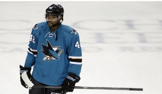 San Jose Sharks' Joel Ward (42) during an NHL preseason hockey game against the Anaheim Ducks Saturday, Sept. 26, 2015, in San Jose, Calif. (AP Photo/Marcio Jose Sanchez)
