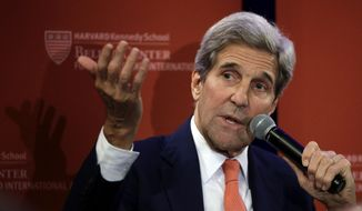 U.S. Secretary of State John Kerry participates in a forum at the Harvard Kennedy School Belfer Center for Science and International Affairs, Tuesday, Oct. 13, 2015, in Cambridge, Mass. (AP Photo/Steven Senne) ** FILE **
