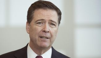 FBI Director James Comey speaks to the media during a news conference at the FBI offices in Cincinnati, Wednesday, Oct. 14, 2015. (AP Photo/John Minchillo) ** FILE **