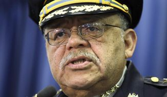 In this March 23, 2015, file photo, Philadelphia Police Commissioner Charles Ramsey speaks during a news conference in Philadelphia.  Ramsey announced his retirement Wednesday Oct. 14, 2015 at a news conference as the administration that brought him to Philadelphia comes to an end.  His last day will be Jan. 7, 2016.  (AP Photo/Matt Rourke)