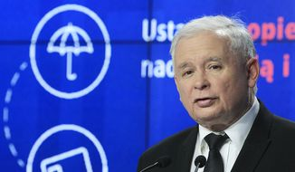 In this Sept. 30, 2015, file photo, former Polish prime minister Jaroslaw Kaczynski speaks at a news conference in Warsaw, Poland. (AP Photo/Czarek Sokolowski)