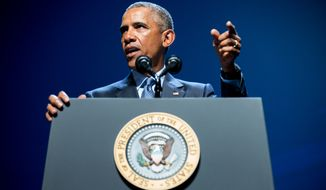 President Barack Obama gives remarks at the National Clean Energy Summit at the Mandalay Bay Resort Convention Center, Monday, Aug. 24, 2015, in Las Vegas. The President used the speech to announce a set of executive actions and private sector commitments to accelerate America's transition to cleaner sources of energy and ways to cut energy waste. (AP Photo/Andrew Harnik)