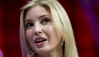 Ivanka Trump, daughter of Republican presidential candidate Donald Trump, founder and CEO, Ivanka Trump Collection and executive vice president Development and Acquisitions The Trump Organization, speaks at the Fortune Most Powerful Women Summit, Wednesday, Oct. 14, 2015, in Washington. (AP Photo/Carolyn Kaster)