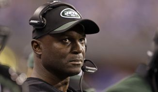 New York Jets head coach Todd Bowles in the first half of an NFL football game against the Indianapolis Colts in Indianapolis, Monday, Sept. 21, 2015. (AP Photo/Darron Cummings)