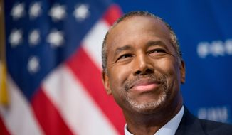 Ben Carson, a retired neurosurgeon, speaks at a luncheon at the National Press Club in Washington, in this Oct. 9, 2015, file photo. (AP Photo/Andrew Harnik)