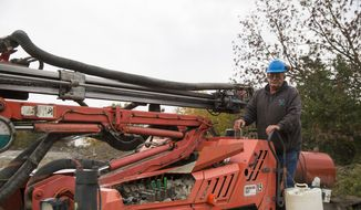 Glen Mead operates a line drill machine at a rock quarry, in Montrose, Pa., in this Oct. 9, 2015, file photo. Mead spent his life working as a dairy farmer and at age 60, began working with Rock Ridge Stone in Montrose, to make ends meet. For just the third time in 40 years, millions of Social Security recipients, disabled veterans and federal retirees can expect no increase in benefits next year, unwelcome news for more than one-fifth of the nation's population. (AP Photo/Brett Carlsen)