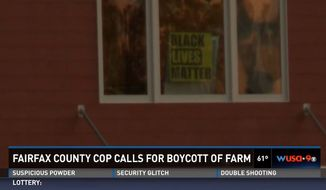 "Brad Carruthers, a Fairfax County police officer for more than 20 years and president of the Fairfax Fraternal Order of Police Lodge 77, is facing backlash after calling for a boycott against a family farm because of a ""Black Lives Matter"" sign spotted near the property. (WUSA 9)"
