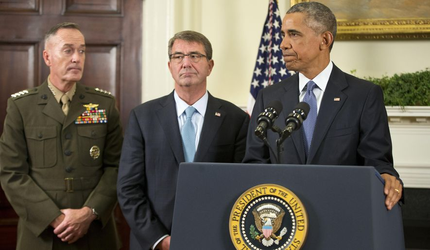 President Barack Obama, with Joint Chiefs Chairman Gen. Joseph Dunford, left, and Defense Secretary Ash Carter, after speaking about Afghanistan, Thursday, Oct. 15, 2015, in the Roosevelt Room of the White House in Washington. Obama announced that he will keep U.S. troops in Afghanistan when he leaves office in 2017, casting aside his promise to end the war on his watch and instead ensuring he hands the conflict off to his successor. (AP Photo/Pablo Martinez Monsivais)