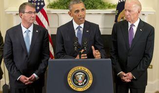 President Barack Obama, flanked by Vice President Joe Biden, right, and Defense Secretary Ash Carter, speaks about Afghanistan, Thursday, Oct. 15, 2015, in the Roosevelt Room of the White House in Washington. Obama announced that he will keep U.S. troops in Afghanistan when he leaves office in 2017, casting aside his promise to end the war on his watch and instead ensuring he hands the conflict off to his successor. (AP Photo/Pablo Martinez Monsivais)