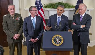 President Barack Obama, accompanied by, from left, Joint Chiefs Chairman Gen. Joseph Dunford, Defense Secretary Ash Carter and Vice President Joe Biden, speaks about Afghanistan, Thursday, Oct. 15, 2015, in the Roosevelt Room of the White House in Washington. Obama announced that he will keep U.S. troops in Afghanistan when he leaves office in 2017, casting aside his promise to end the war on his watch and instead ensuring he hands the conflict off to his successor. (AP Photo/Pablo Martinez Monsivais)