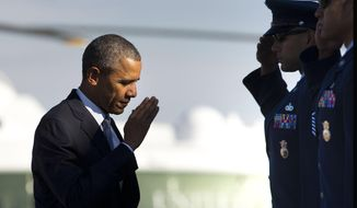 President Barack Obama returns a salute prior to boarding Air Force One before his departure from Andrews Air Force Base, Md., on Oct. 9, 2015. Obama will keep 5,500 U.S. troops in Afghanistan when he leaves office in 2017, according to senior administration officials, casting aside his promise to end the war on his watch and instead ensuring he hands the conflict off to his successor. (Associated Press) **FILE**