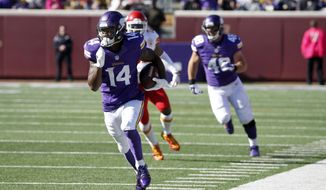 FILE - In this Oct. 18, 2015, file photo, Minnesota Vikings wide receiver Stefon Diggs (14) runs with the ball during the first half of an NFL football game against the Kansas City Chiefs, in Minneapolis. Few knew who Stefon Diggs was when the Vikings grabbed the receiver in the fifth round of the draft. After Sunday's seven-catch, 129-yard performance, coaches, opposing defenses and fantasy owners are going to start taking notice.  (AP Photo/Ann Heisenfelt, File)
