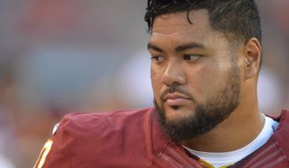 Washington Redskins defensive tackle Stephen Paea stands on the sideline during an NFL preseason football game against the Cleveland Browns Thursday, Aug. 13, 2015, in Cleveland. Washington won 20-17. (AP Photo/David Richard)