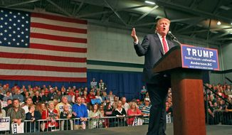 Republican presidential candidate Donald Trump speaks Monday, Oct. 19, 2015, in Anderson, S.C. (Ken Ruinard/The Independent-Mail via AP)