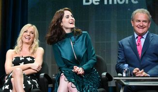 "FILE - In this Aug. 1, 2015 file photo, actors Joanne Froggatt, from left, Michelle Dockery, and Hugh Bonneville speak onstage during the ""Downton Abbey"" panel at the PBS 2015 Summer TCA Tour held at the Beverly Hilton Hotel, in Beverly Hills, Calif. The final season of the popular British drama ""Downton Abbey"" will begin on Jan. 3, 2016, leading up to a finale on the first weekend of March, PBS announced Monday, Oct. 19, 2015. The show has been both a creative and ratings triumph for the network. (Photo by Richard Shotwell/Invision/AP, File)"