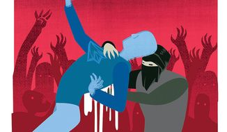 Illustration on the Palestinian low-tech terror campaign against Israel by Linas Garsys/The Washington Times