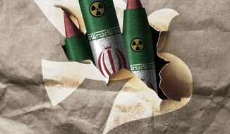 Illustration on the risk of Iran violating the nuclear arms agreement by Alexander Hunter/The Washington Times
