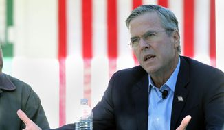 Republican presidential candidate Jeb Bush answers a question after he announced his plan to modify the management of western public lands, during a western policy roundtable, Wednesday, Oct. 21, 2015, at Rancho San Raffle Park in Reno, Nev. (AP Photo/Lance Iversen) ** FILE **