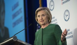 Democratic presidential candidate Hillary Rodham Clinton speaks during the Alabama Semi-Annual Democratic Conference at the Hyatt Regency Wynfrey Hotel in Hoover, Ala., on Oct. 17, 2015. (Albert Cesare /The Montgomery Advertiser via Associated Press) ** FILE **