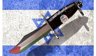 Illustration on the third intifada and the aims of Islamists against Israel by Alexander Hunter/The Washington Times