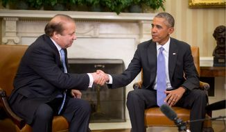 "President Obama and Pakistani Prime Minister Nawaz Sharif issued a joint statement Thursday calling for ""enhancing"" the already ""robust"" military-to-military relationship between Washington and Islamabad, indicating that a major weapons deal may be in the works. (Associated Press)"