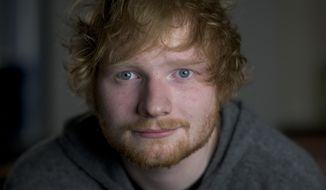 "In this Friday, Oct. 16, 2015 photo, Ed Sheeran poses for a portrait in promotion of his full-length concert feature, ""Ed Sheeran: Jumpers for Goalposts,"" in New York. The movie premieres in London this week. (Photo by Drew Gurian/Invision/AP)"