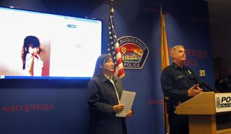 FBI special agent in charge Carol K.O.  Lee, left, and Albuquerque Police Department Chief Gorden Eden address the media Wednesday, Oct. 21, 2015, following a road-rage incident where 4-year-old Lilly Garcia was shot and killed in Albuquerque, N.M. (AP Photo/Mary Hudetz)