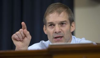 Rep. Jim Jordan, R-Ohio, questions Democratic presidential candidate, former Secretary of State Hillary Rodham Clinton as she testified before the committee on Capitol Hill in Washington, Thursday, Oct. 22, 2015.  (AP Photo/Carolyn Kaster) ** FILE **