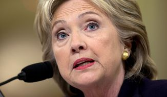 Hillary Rodham Clinton has risen 5 percentage points in the RealClearPolitics.com average of national polls of Democratic primary voters in the last 10 days, and is nearing the 50 percent mark yet again. (Associated Press)