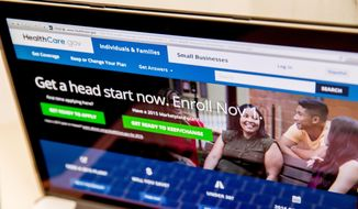 The HealthCare.gov website, where people can buy health insurance, is displayed on a laptop screen in Washington on Oct. 6, 2015. (Associated Press) ** FILE **