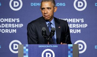 "President Barack Obama makes a ""grumpy cat"" face as he compared Republicans to the sad Internet cat while speaking to the Democratic National Committee 22nd Annual Women's Leadership Forum National Issues Conference in Washington, Friday, Oct. 23, 2015. (AP Photo/Jacquelyn Martin)"