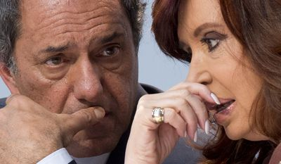 Daniel Scioli, who has been Argentina's vice president and the governor of Buenos Aires province, recently finished first in the open primaries, and will face a run-off election on Oct. 25. Cristina Fernandez is barred from seeking a third consecutive term. (Associated Press)