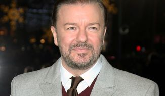 "In this Dec. 15, 2014 file photo, actor Ricky Gervais poses for photographers upon arrival for the premiere of the film ""Night at the Museum, Secret of the Tomb"" in London. Gervais is set to notch his fourth turn as host of the Golden Globe Awards. The Hollywood Foreign Press Association and NBC announced Monday, Oct. 26, 2015, that the sharp-tongued humorist and film star will preside over the 73rd Annual Golden Globe Awards, set for January 10, 2016.  (Photo by Joel Ryan/Invision/AP, File)"