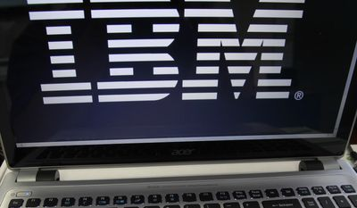 An IBM logo is displayed in Berlin, Vt., in this July 16, 2013, file photo. (AP Photo/Toby Talbot, File)
