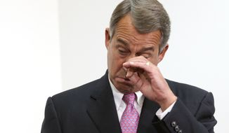 Outgoing House Speaker John Boehner of Ohio talks become emotional during a news conference on Capitol Hill in Washington, Tuesday, Oct. 27, 2015. House Republican leaders on Tuesday pushed toward a vote on a two-year budget deal despite conservative opposition, relying on the backing of Democrats for the far-reaching pact struck with President Barack Obama. In his last days as speaker, John Boehner was intent on getting the measure through Congress and head off a market-rattling debt crisis next week and a debilitating government shutdown in December. The deal also would take budget showdowns off the table until after the 2016 presidential and congressional elections, a potential boon to the eventual GOP nominee and incumbents facing tough re-election fights.  (AP Photo/Lauren Victoria Burke)