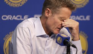 Golden State Warriors coach Steve Kerr answers questions during a news conference prior to an NBA basketball game against the New Orleans Pelicans, Tuesday, Oct. 27, 2015, in Oakland, Calif. (AP Photo/Ben Margot) ** FILE **