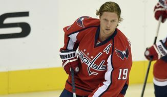 Washington Capitals' Nicklas Backstrom, of Sweden, skates with the puck during warm ups before an NHL hockey game against the Carolina Hurricanes, Saturday, Oct. 17, 2015, in Washington. (AP Photo/Nick Wass)