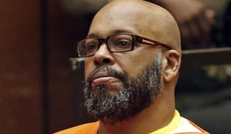 "Marion Hugh ""Suge"" Knight sits for a hearing in his murder case in Los Angeles Superior Court, in this July 7, 2015, file photo. (Patrick T. Fallon/Pool Photo via AP, File)"