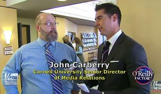"Administrators at Cornell University kicked Fox News' Jesse Watters of ""The O'Reilly Factor"" off campus after he tried to interview students about the school's alleged liberal bias. (Fox News)"