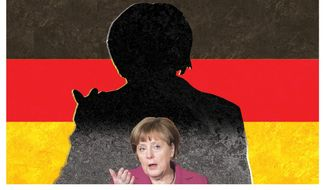 Illustration on Angela Merkel's shrinking stature as leader of Germany by Alexander Hunter/The Washington Times