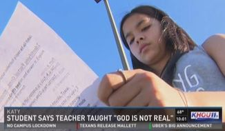 Jordan Wooley, a Methodist student at West Memorial Junior High School in Katy, said her 7th-grade teacher gave students an assignment teaching God is a myth. (KHOU)