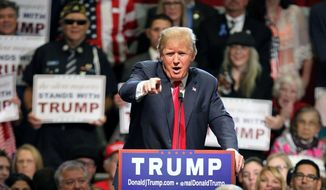 Republican presidential candidate Donald Trump gestures as he speaks during a rally at the Nugget Convention Center Sparks, Nev., Thursday, Oct. 29, 2015. (AP Photo/Lance Iversen) ** FILE **