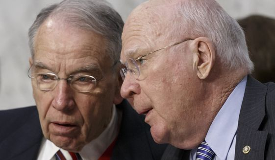 Senate Judiciary Committee Chairman Chuck Grassley (left) and ranking member Patrick Leahy (right) on Thursday sent a letter to Treasury Secretary Jacob Lew demanding answers about the use of the technology by the IRS. (Associated Press)