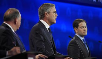 Jeb Bush, center, flanked by Mike Huckabee, left, and Marco Rubio responds to a question during the CNBC Republican presidential debate at the University of Colorado, Wednesday, Oct. 28, 2015, in Boulder, Colo. (AP Photo/Mark J. Terrill)