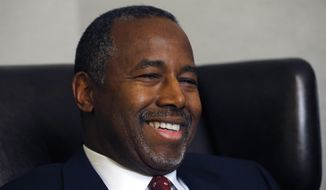 Republican presidential candidate Ben Carson discusses faith during an exclusive interview with The Associated Press at a hotel in Broomfield, Colo., in this Oct. 28, 2015, file photo. (AP Photo/Brennan Linsley) ** FILE **