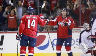 CORRECTS TO SECOND PERIOD NOT FIRST PERIOD  - Washington Capitals right wing Justin Williams (14) celebrates his goal with center Nicklas Backstrom (19), from Sweden, with Columbus Blue Jackets goalie Sergei Bobrovsky (72), from Russia, in the net in the second period of an NHL hockey game, Friday, Oct. 30, 2015, in Washington. (AP Photo/Alex Brandon)