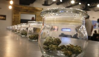 FILE - In this Sept. 16, 2015 file photo, marijuana for sale is kept in jars for customers to sample smells, on opening day of a new outlet of the Colorado Harvest Company recreational marijuana stores, in Aurora, Colo. The only statewide question on Colorado ballots next week is whether the state will keep $66 million in marijuana taxes that have already been collected, with the money headed to schools and drug abuse prevention? The measure has the backing of both Democrats and Republicans, plus most in the marijuana industry. (AP Photo/Brennan Linsley, File)