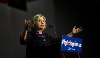 Democratic presidential candidate Hillary Rodham Clinton speaks during a campaign event at Clark Atlanta University in Atlanta on Oct. 30, 2015. (Associated Press) **FILE**