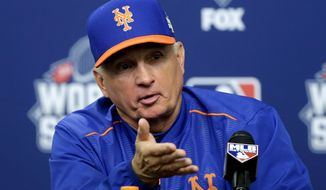 New York Mets manager Terry Collins talks during a news conference before Game 5 of the Major League Baseball World Series bagainst the Kansas City Royals Sunday, Nov. 1, 2015, in New York. (AP Photo/Frank Franklin II)